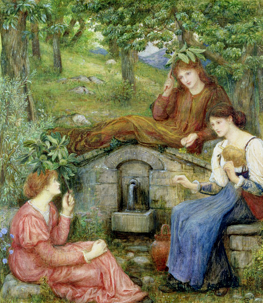https://upload.wikimedia.org/wikipedia/commons/6/6d/Marie_Spartali_Stillman_-_By_a_Clear_Well_with_a_Little_Field.jpg