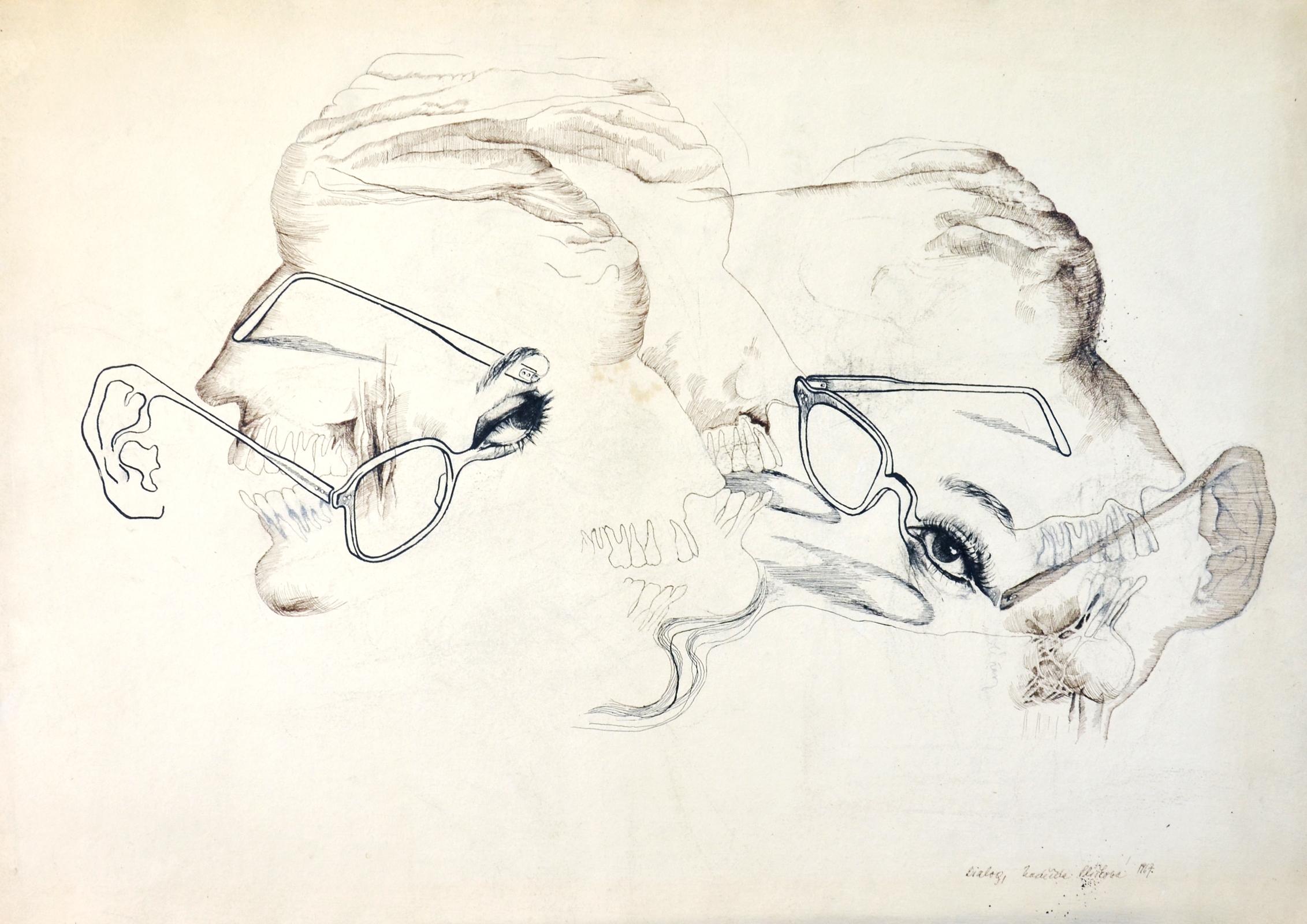 Soubor Nadezda Pliskova Dialog Kresba Tusi 42x59 Cm 1967 Jpg