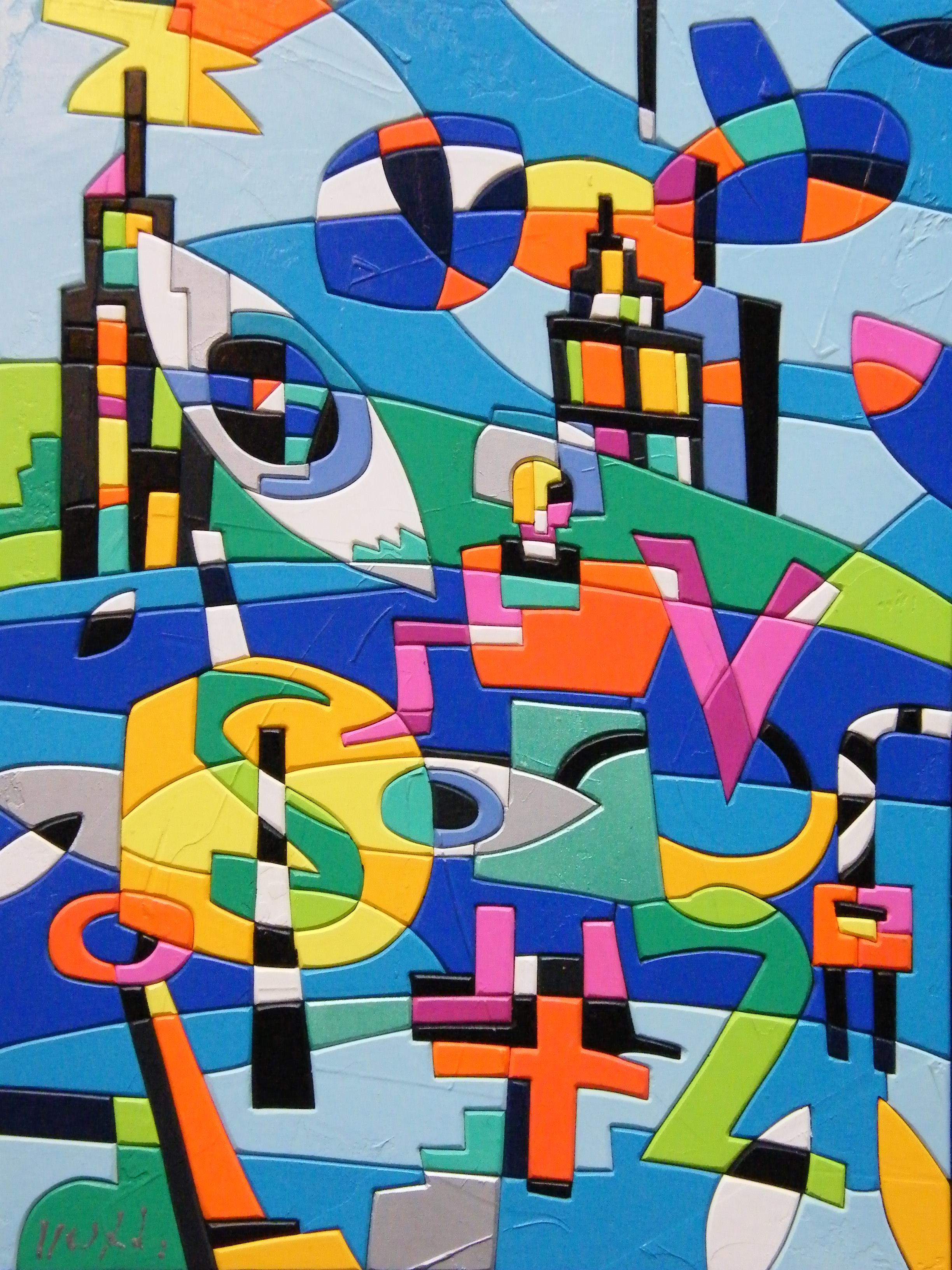 ''Urbano'' (40 x 30, acrylic colours on wood) is the painting created and chosen by Ugo Nespolo for the exhibition ''Homage to Lawrence Ferlinghetti'', Torino, Italy, 2010