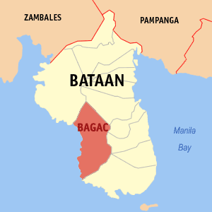 Map of Bataan showing the location of Bagac