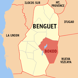 Mapa na Benguet ya nanengneng so location na Bokod