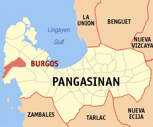 Map of Pangasinan showing the location of Burgos