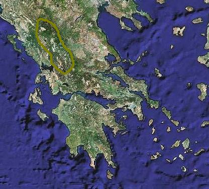 Pindus mountains outlined Pindus map.JPG