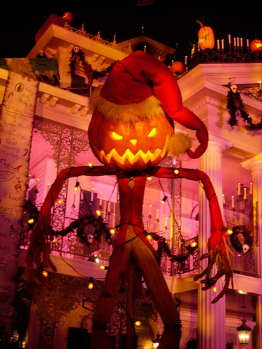A statue of the Pumpkin King outside of Disneyland's Haunted Mansion during the