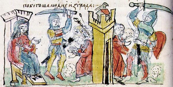 Четвёртая месть Ольги древлянам. Миниатюра из Радзивилловской летописи, 15 век.