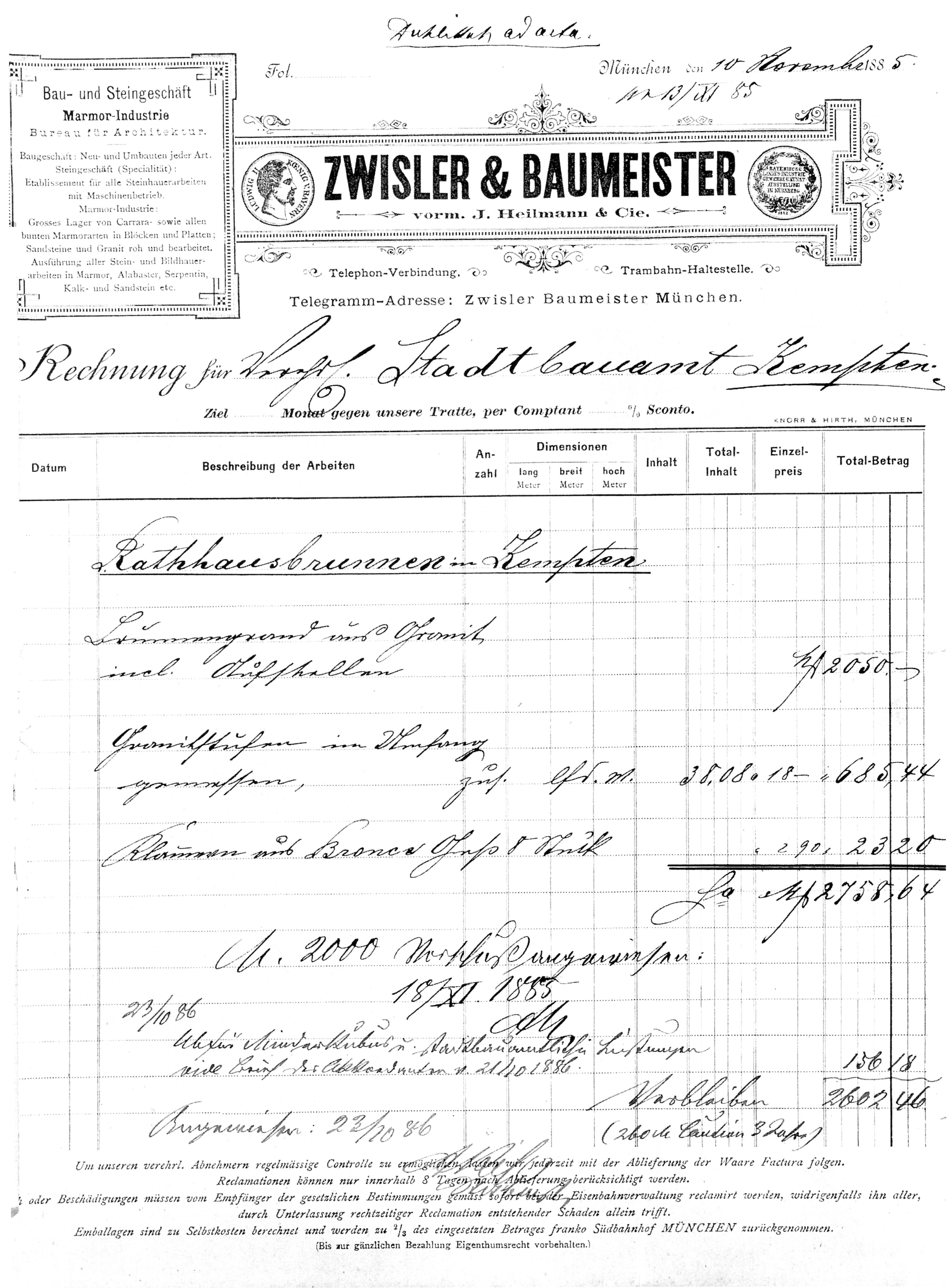 File:Rechnung von Zwisler & Baumeister für neues Granitbecken d ...