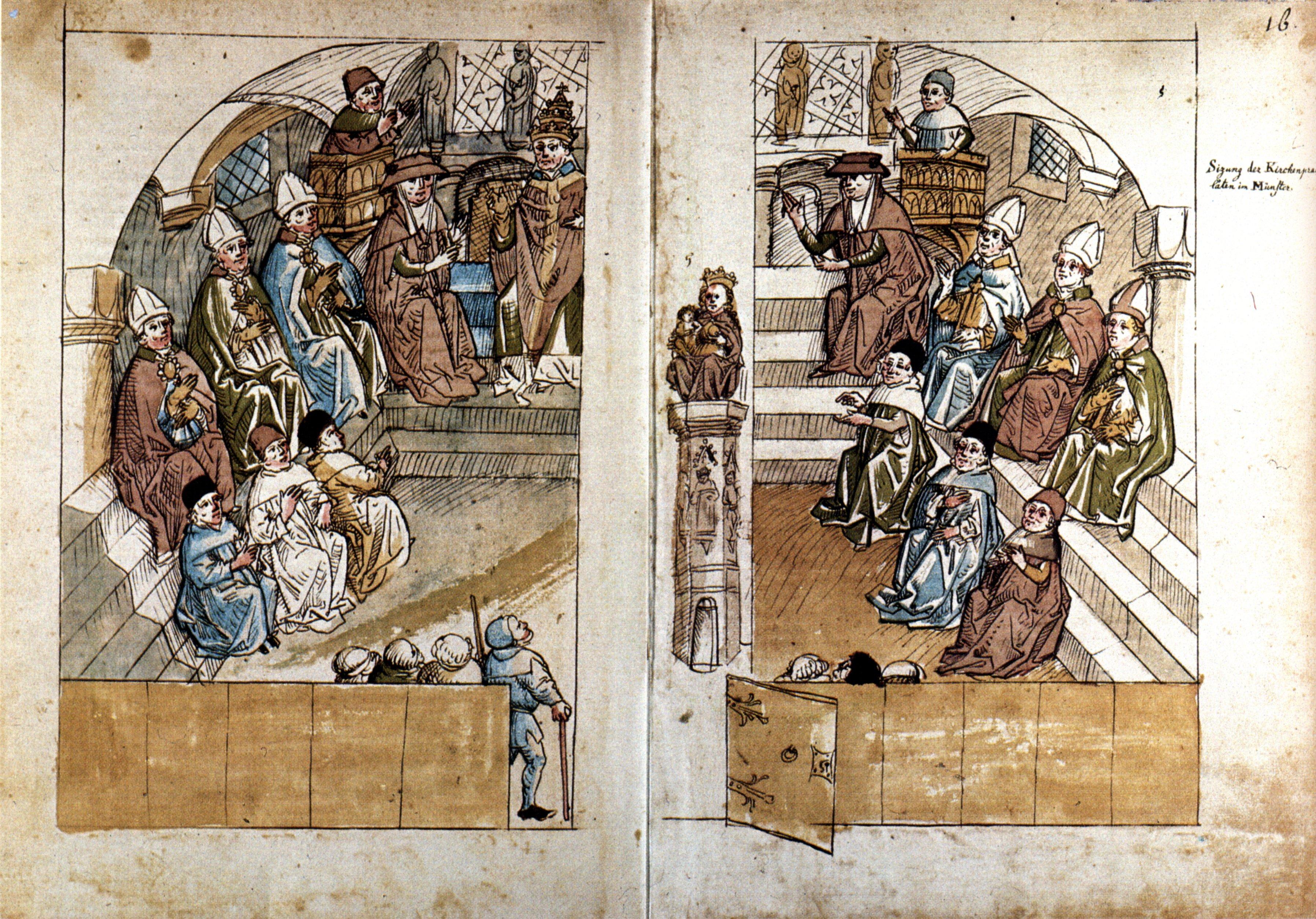 Sitzung der Gelehrten, Bischöfe, Kardinäle und des Papstes Johannes XXIII. im Konstanzer Münster. Aus der Konzilschronik Ulrichs von Richental (1460/65). Quelle: Wikipedia/wikicommons