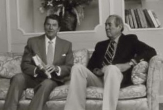 [[Ronald Reagan]] visits with Drury in 1981