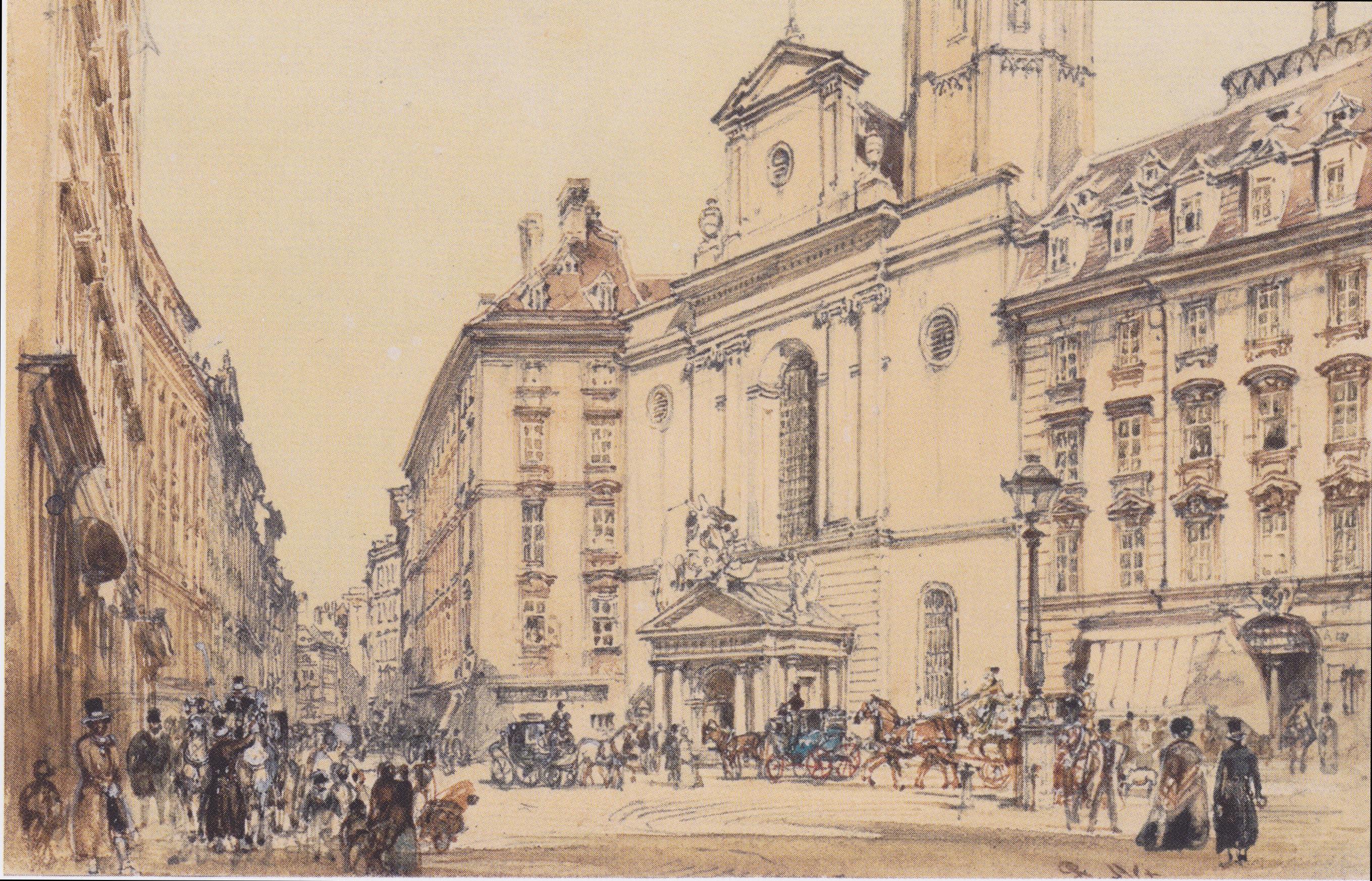 File:Rudolf von Alt - Michaelerplatz und Kohlmarkt in Wien - 1844.jpeg