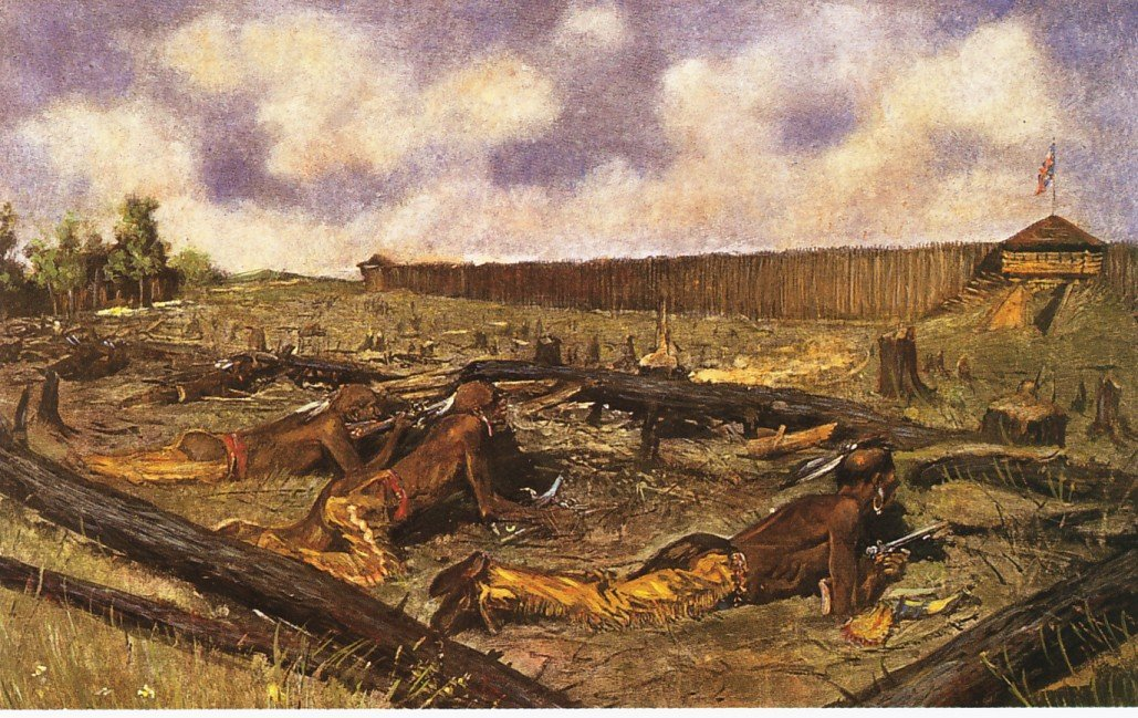 Depiction of the 1763 Siege of Fort Detroit by Frederic Remington.