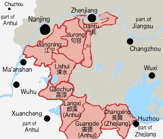 Showing counties or districts taken by the communist forces in Southern Jiangsu and parts of Anhui and Zhejiang in August 1945.