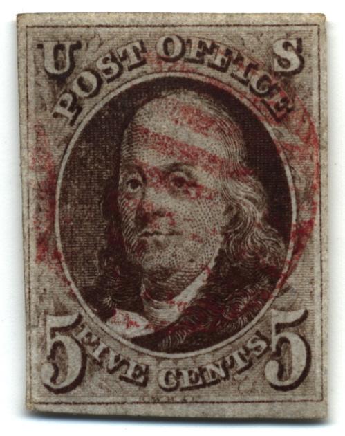 http://commons.wikimedia.org/wiki/File:Stamp_US_1847_5c-Benjamin_Franklin.jpg