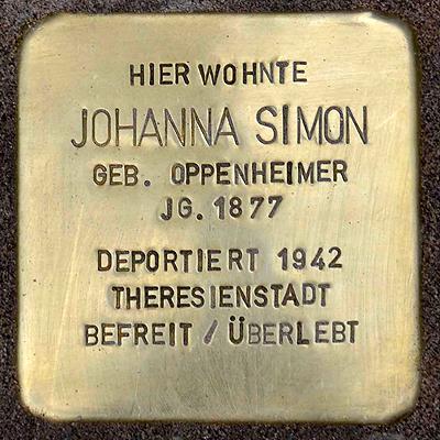 Stolpersteine Heddernheimer Landstrasse 32 Simon Johanna