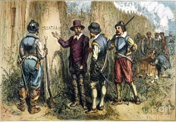 Painting by Englishman John White. Sir Walter Raleghi's 1590 Expedition to Roanoke Island to find the Lost Colony uncovered 'Croatoan' carved on a tree. This may be in reference to the Croatan island or people.