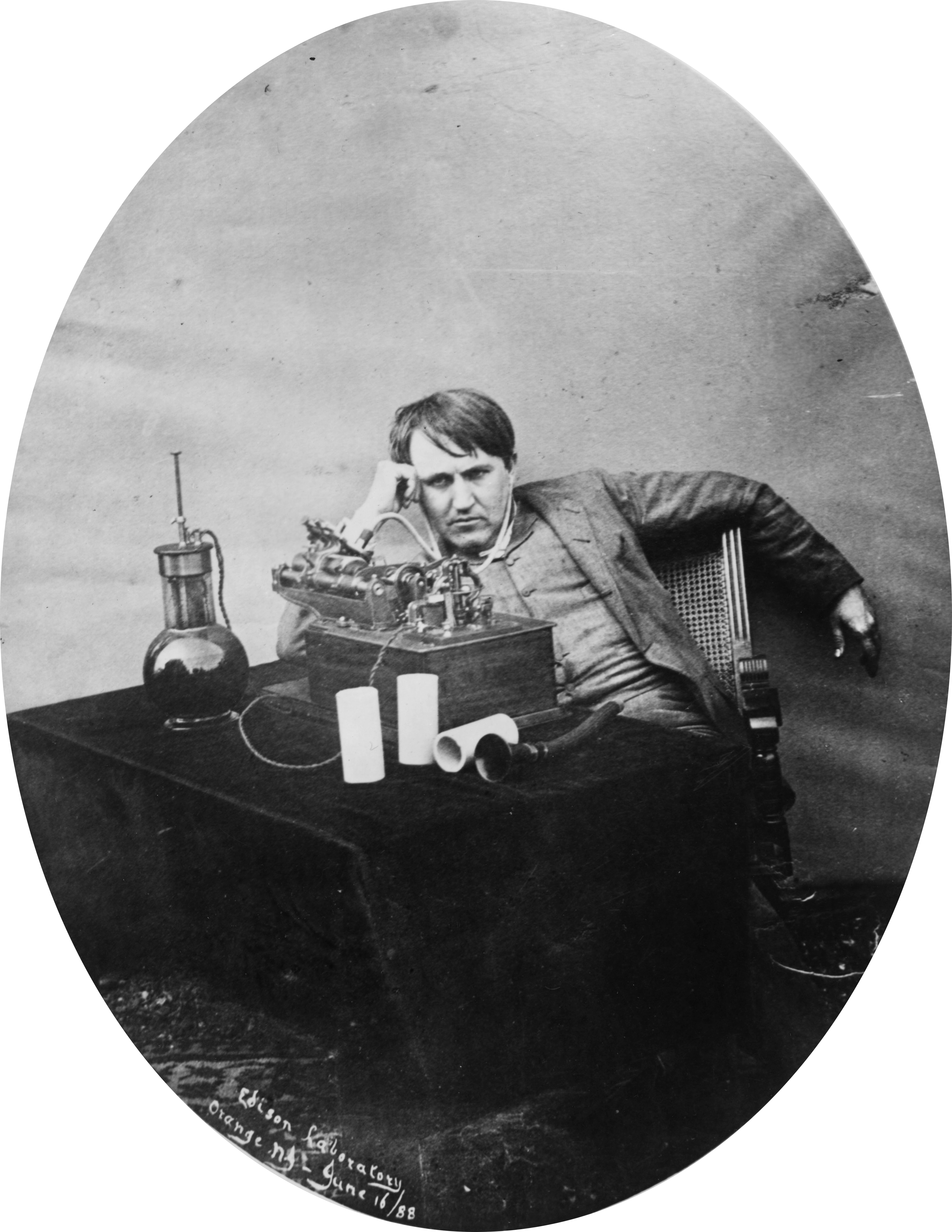 FileThomas Edison Listening To Wax Cylinder 1888