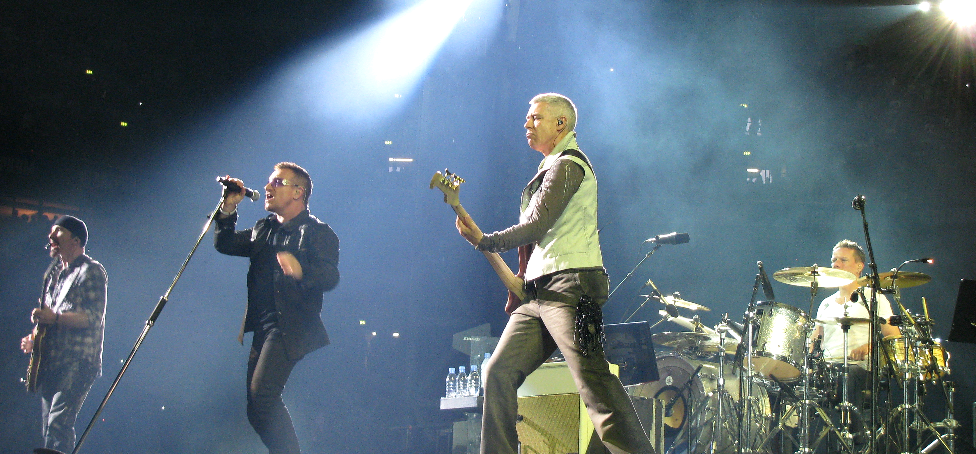 U2 performing in 2009. The Edge has described U2 as a fundamentally live band.