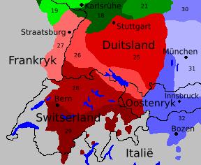 Het taalgebied van het Westelijk Opperduits.  Het gebied van het Elzassisch ligt in het oosten van Frankrijk ■Zwabisch (25) ■Nederalemannisch (26) ■Elzassisch (27) ■Hoogalemannisch (28) ■Hoogstalemannisch (29) ■Noord-Beiers (30) ■Centraal-Beiers (31) ■Zuid-Beiers (32)