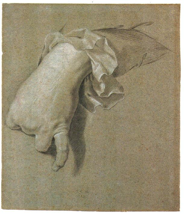 Rysunek dłoni - szkic tricolor