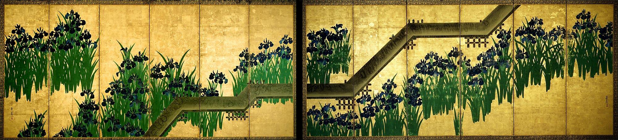 teachartwiki - Eight-planked Bridge-- Ogata Korin