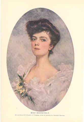 Alice Roosevelt, formal portrait by Theobald Chartran 1901. Alice Roosevelt Portrait.jpg
