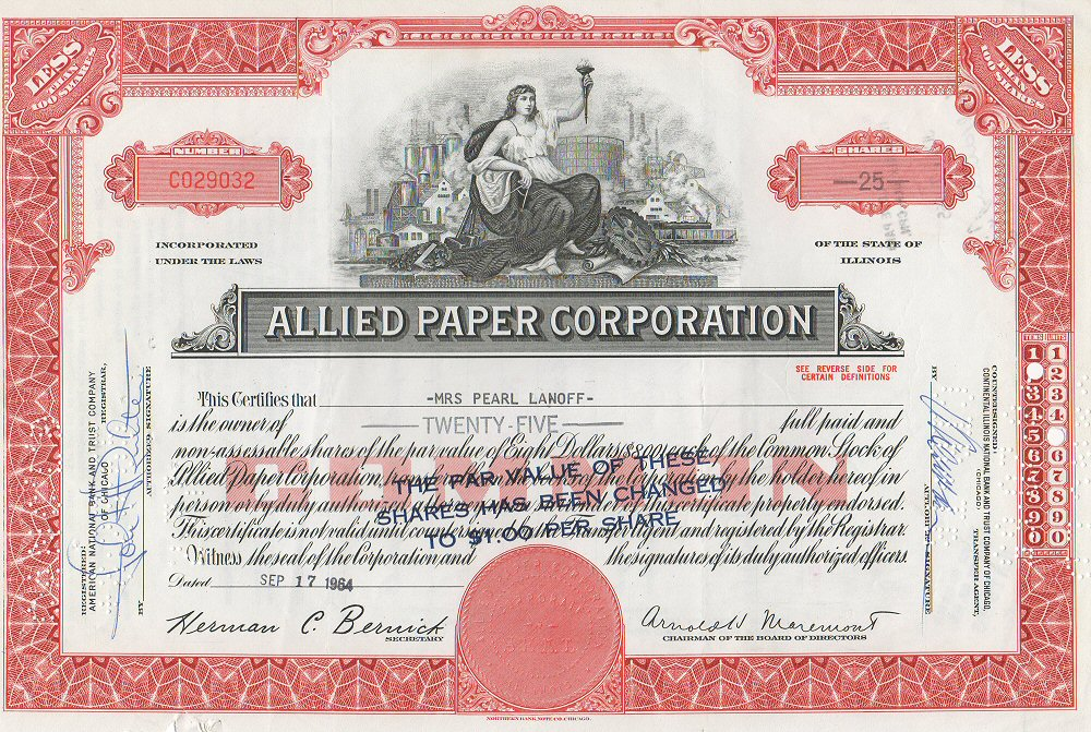 File:Allied Paper Corporation Stock Certificate 1964  Example Of Share Certificate