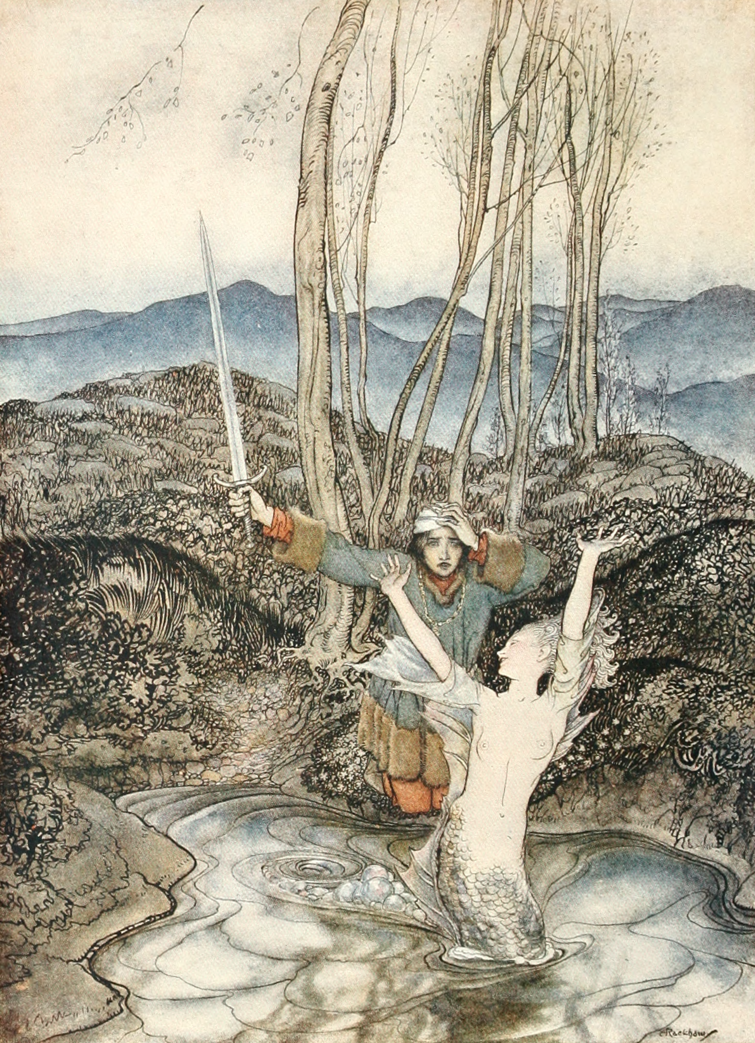 An image of Clerk Colvill and the Mermaid by Arthur Rackham.