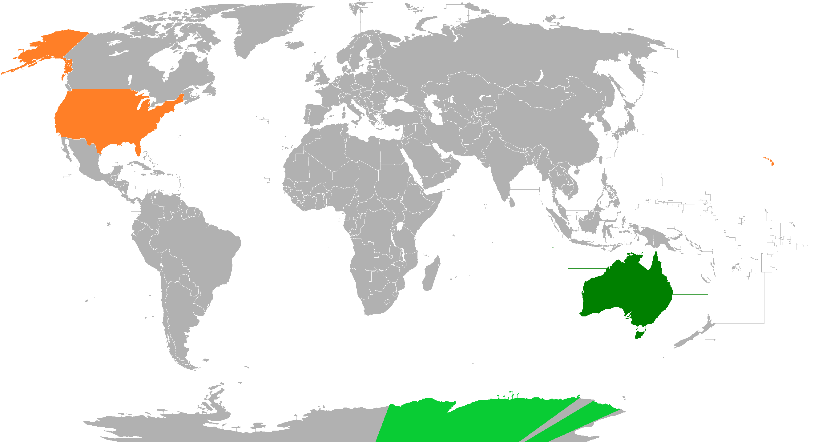 Map Of Australia Vs Usa.Australia United States Relations Wikipedia