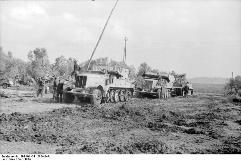 Two Sd.Kfz. 9 heavy tractors getting ready to tow a Tiger I of schwere Panzer-Abteilung 508