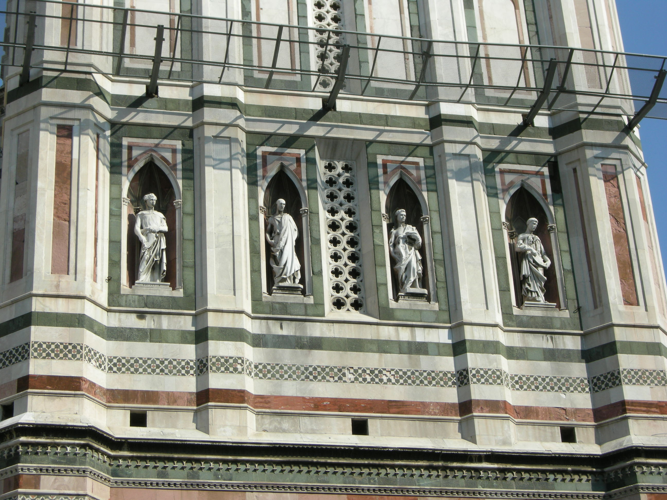 Image result for statues in the niches of Giottos bell tower in florence .