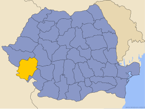 Administrative map of Руминия with Караш-Северин county highlighted