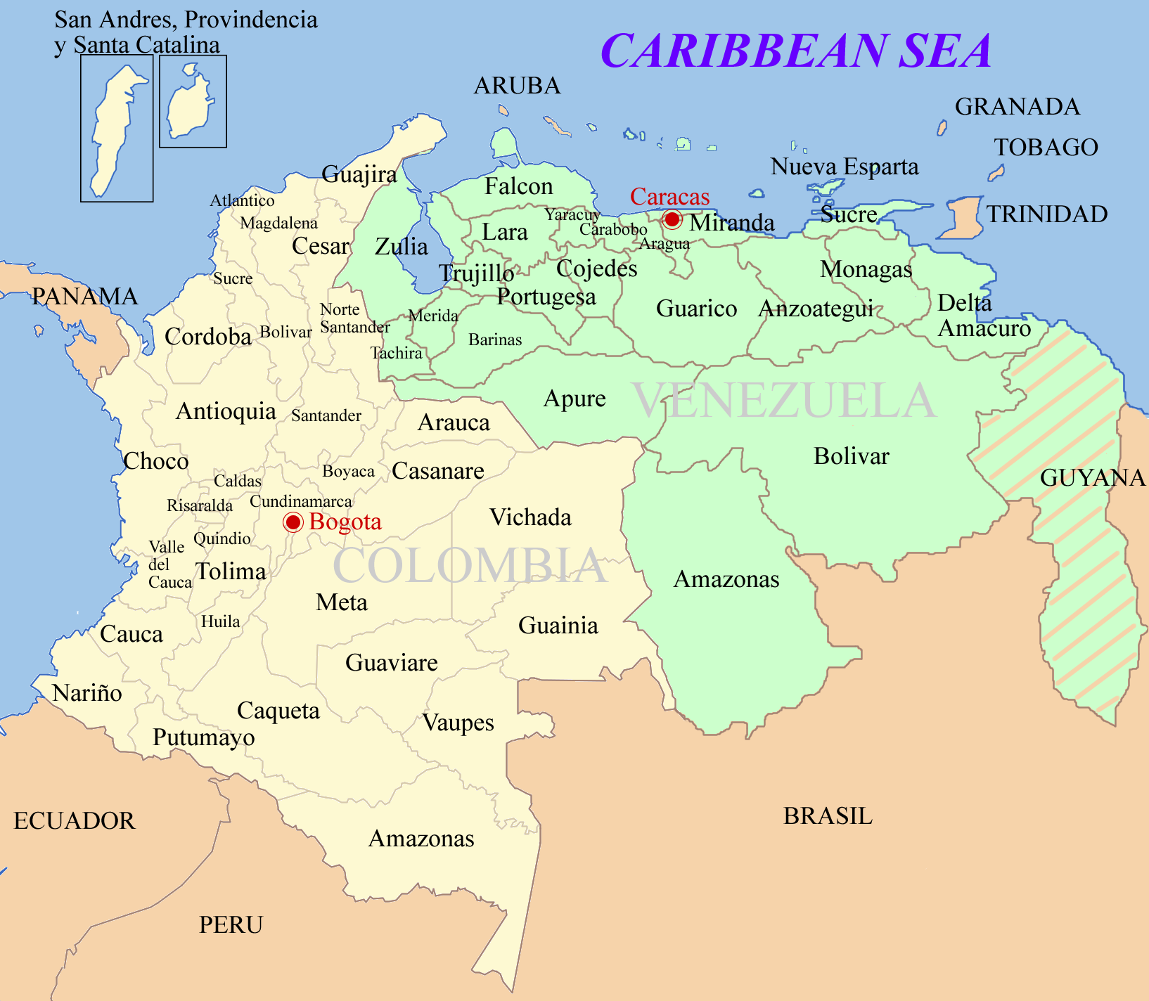Colombia Time Zone Map - Aruba time zone map