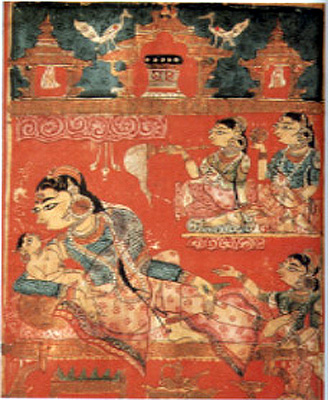 Detail of a leaf with, The Birth of Mahavira (the 24th Tirthankara of Jainism), from the Kalpa Sutra, c.1375-1400.