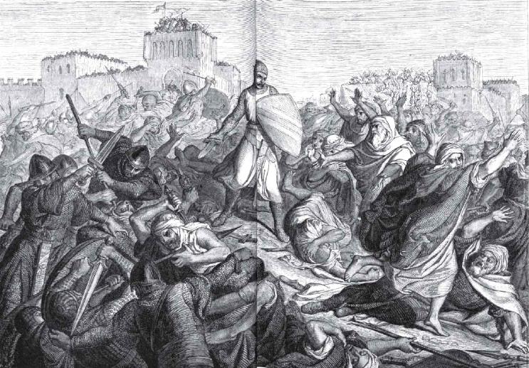 El Cid luchando en los arrabales de Valencia.