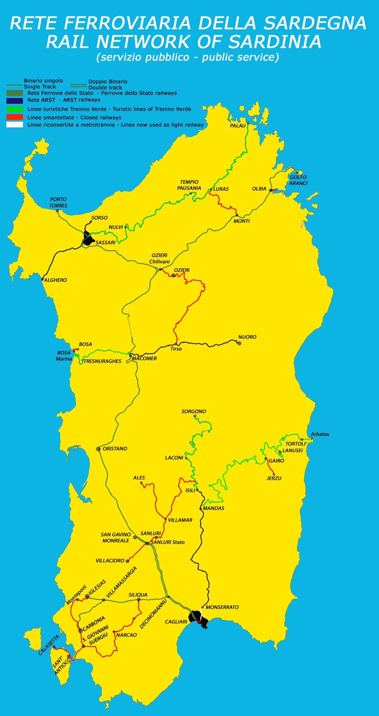Cartina Porti Sardegna.Rete Ferroviaria Della Sardegna Wikipedia