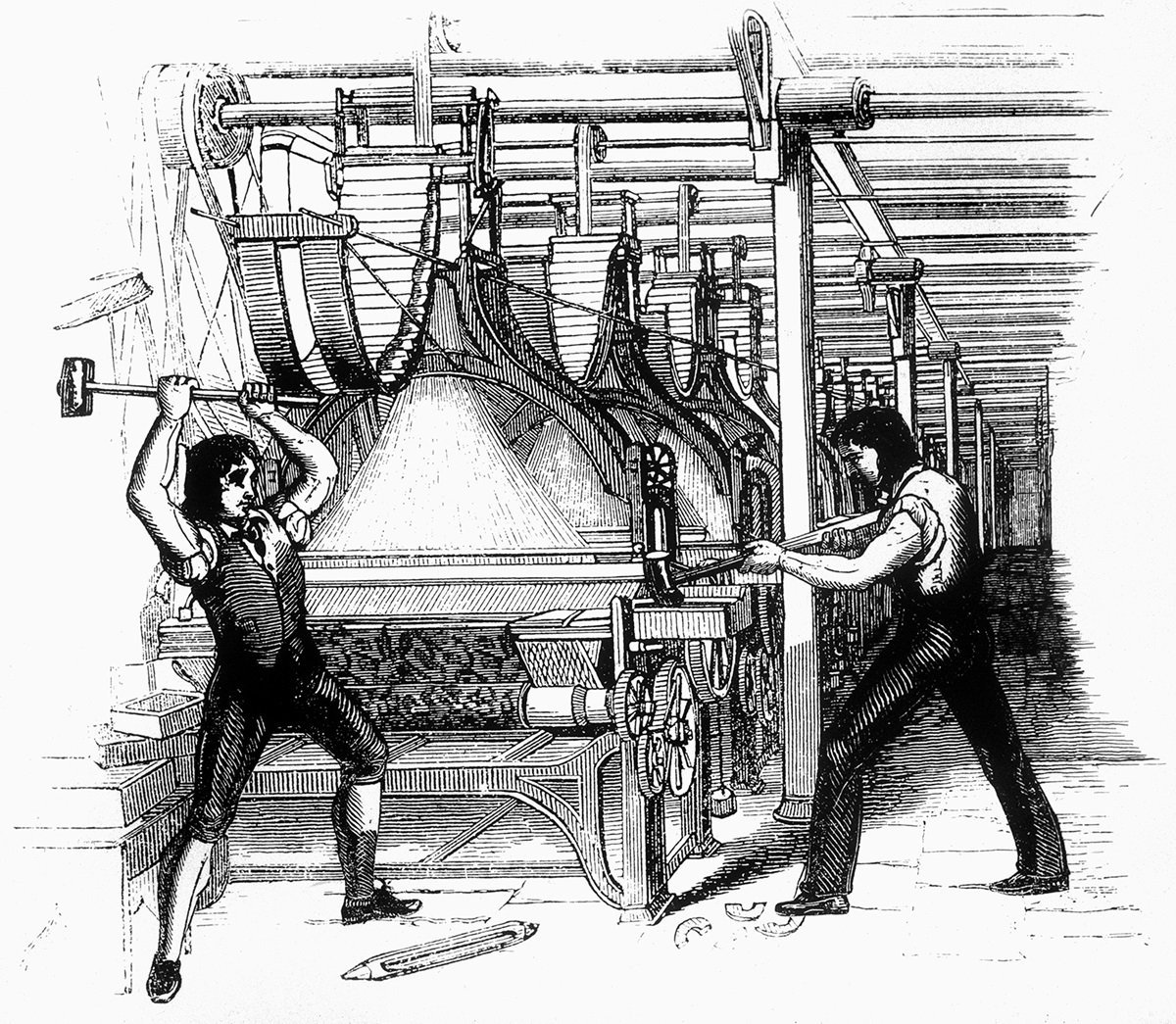 19th century engraving of Luddites smashing factory equiptment
