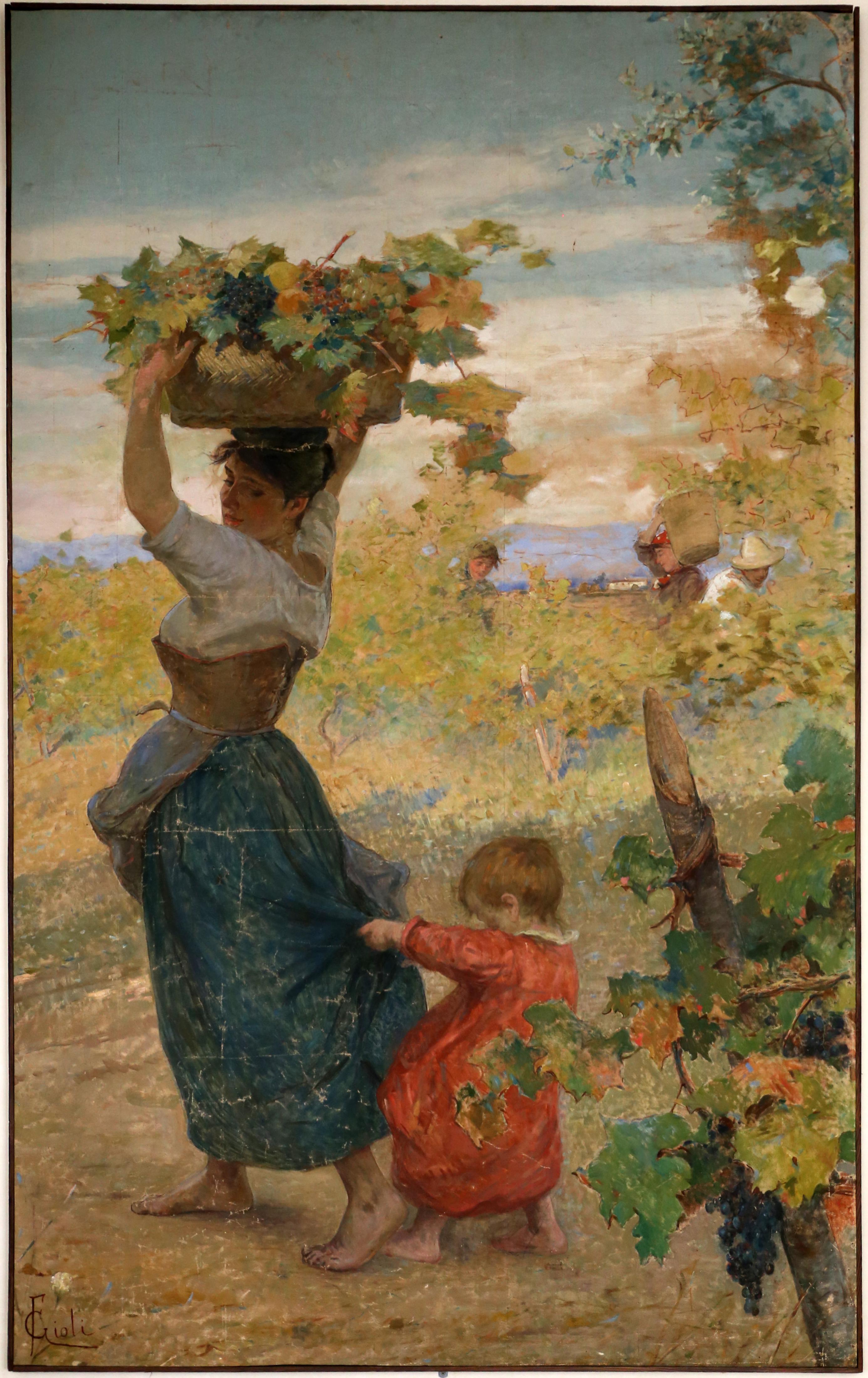 Francesco Gioli - Contadina con cesta alla vendemmia (1895)