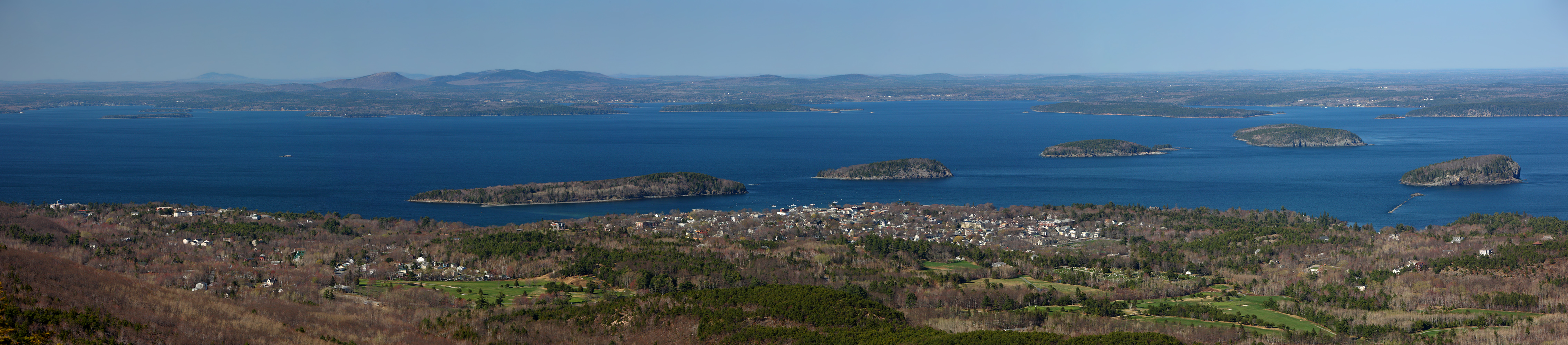Frenchman bay and bar harbor from cadillac mountain acadia np