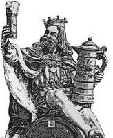 Gambrinus in kingly garb sits casually on a beer keg as he regards a foaming chalice and balances a large pitcher on his thigh.