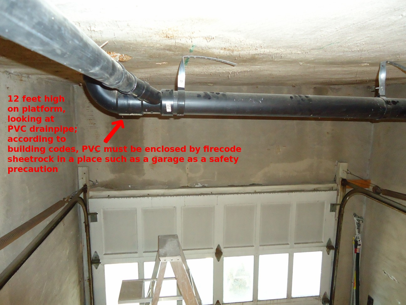FileHandyman project -- View of exposed PVC drain pipe in garage from scaffolding & File:Handyman project -- View of exposed PVC drain pipe in garage ...