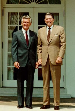 Hawke and US President Ronald Reagan at the White House in November 1984 Hawke Reagan1985.jpg