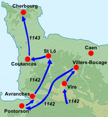 Geoffrey of Anjou's invasion of Normandy, 1142-43 Invasion of Normandy 1142-3.png