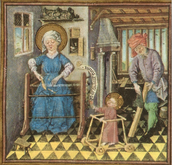 Jesus in a baby walker from the Hours of Catherine of Cleves