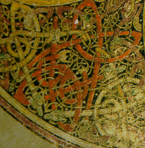 Detail of elaborate interlace from the Book of Kells.