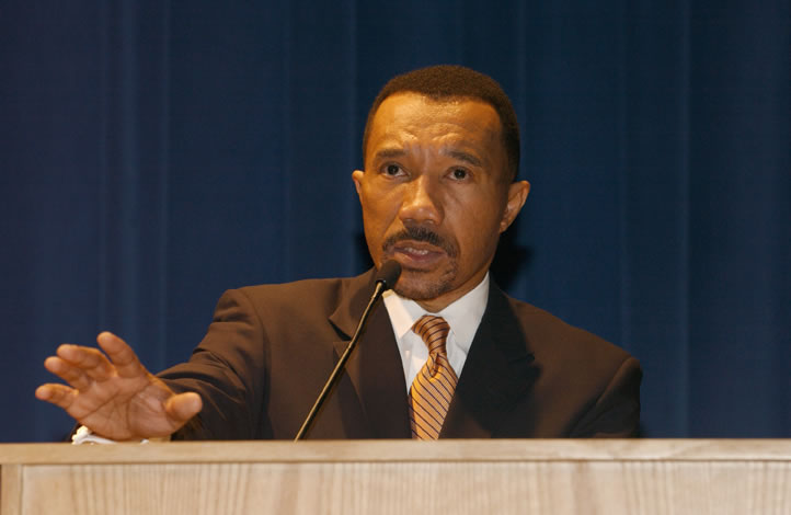 Mfume delivering a speech at NOAA during Black...