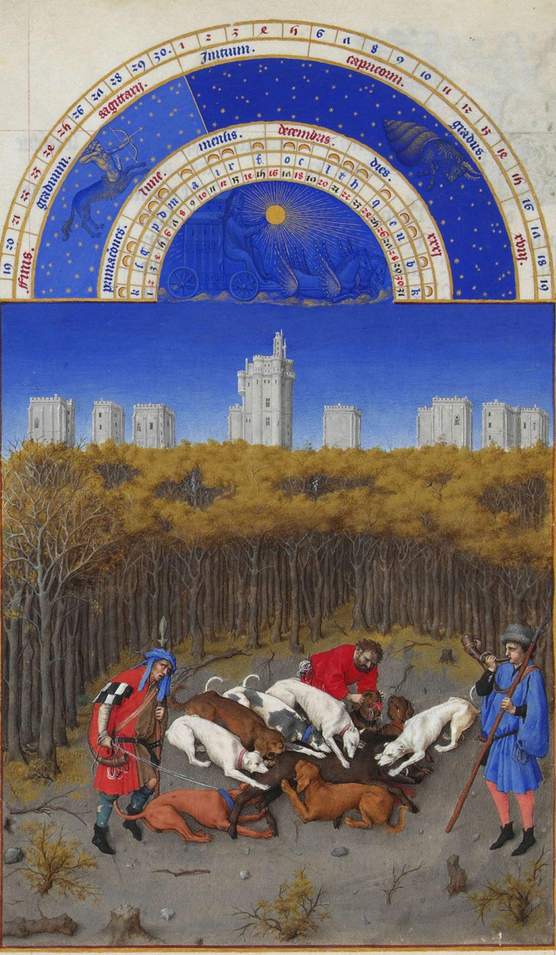 Wildschweinjagd auf dem Dezember-Blatt im Großen Stundenbuch des Duc de Berry. (Chantilly, Musée Condé, Ms. 65, fol 12r.)