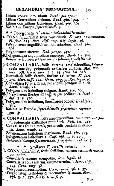 Описание ландыша (Lilium convallium) из книги Линнея Species plantarum, 1753