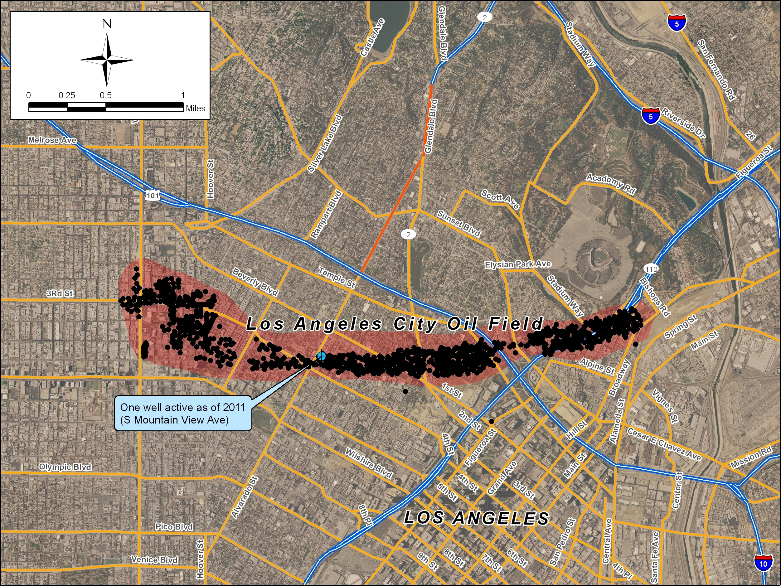 Map Of The Former Oil Wells Of The Los Angeles City Oil Field