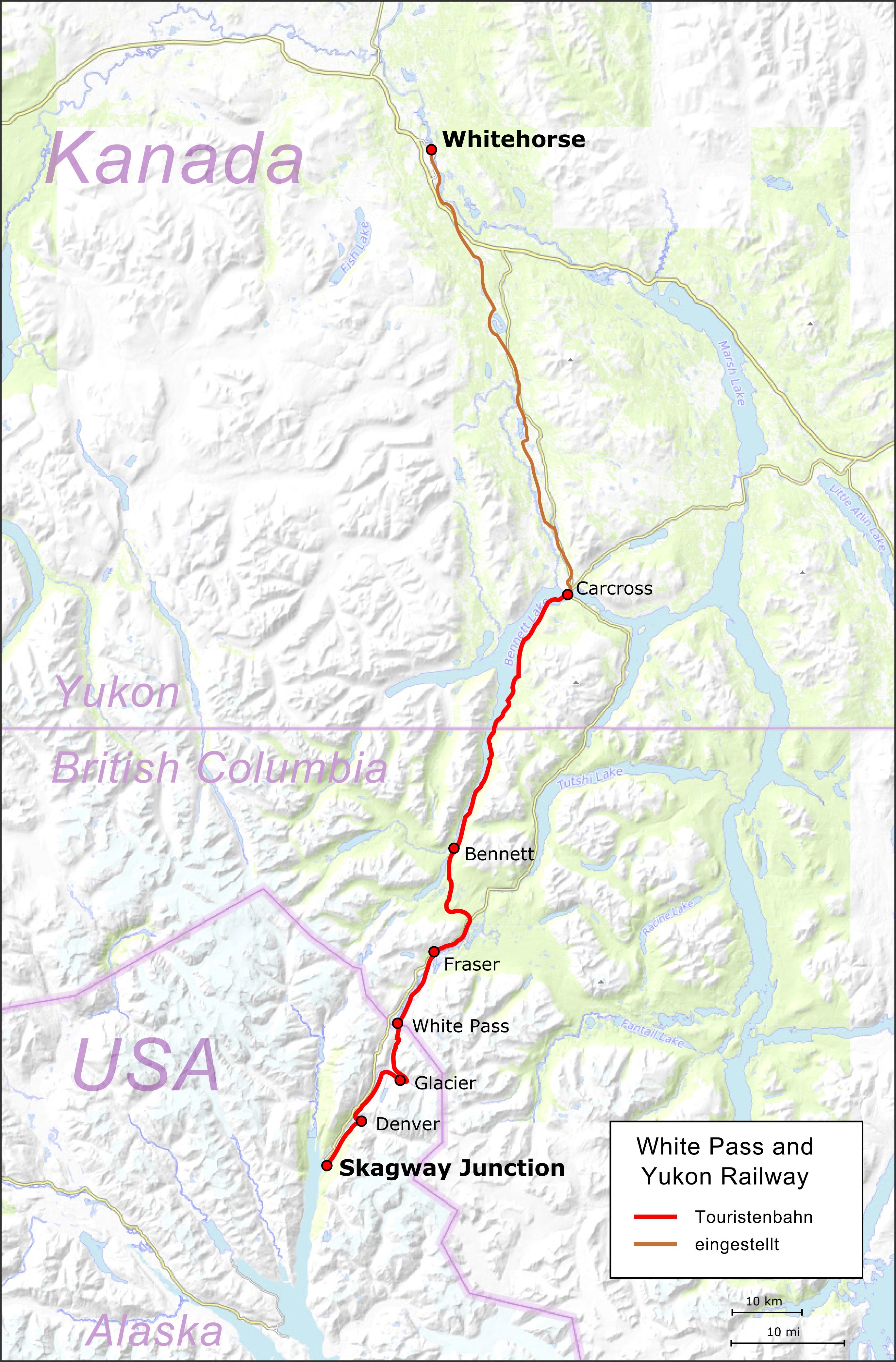 File:Map White P and Yukon Route de.png - Wikimedia Commons on quebec map, northwest territories map, klondike map, nunavut map, mountain creek lake map, british columbia map, inola map, p.e.i map, north america map, canada map, toronto map, whitestone map, newfoundland map, mackenzie mountains map, alberta map, dawson city map, alaska map, skagway map, yangtze map, arizona map,