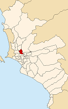 Location of Rímac in the Lima province