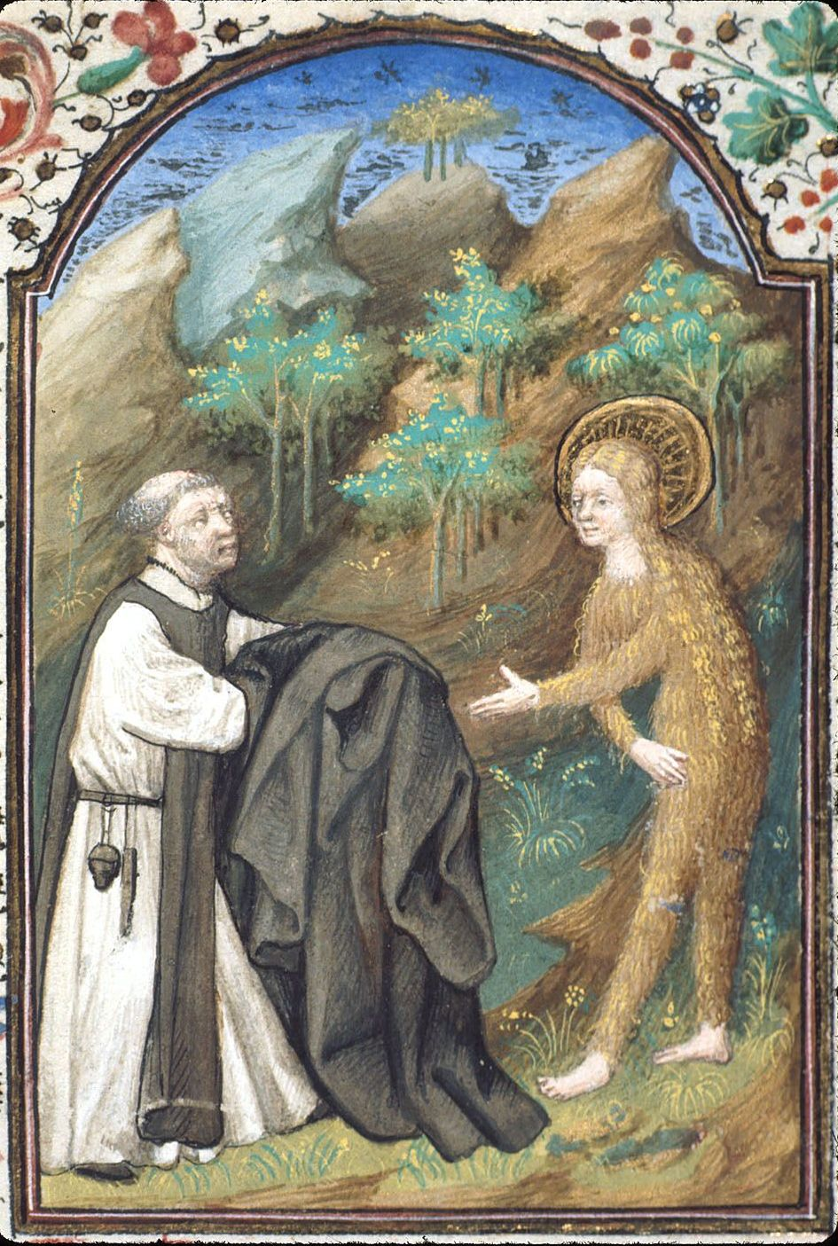 Mary of Egypt, covered in hair, receives a cloak from the monk Zosimus